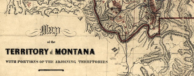 Map of the territory of Montana with portions of the adjoining territories : showing the gulch or placer diggings actually worked and districts where quartz (gold & silver) lodges have been discovered to January 1st 1865  wide thumbnail image