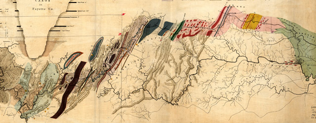 Map showing the economic minerals along the route of the Chesapeake & Ohio Rail Way to accompany the geological report of Thomas S. Ridgway wide thumbnail image
