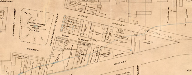 Map of the old portion of the city surrounding the plaza, showing the old plaza church, public square, the first gas plant and adode buildings, Los Angeles city, March 12th, 1873  wide thumbnail image