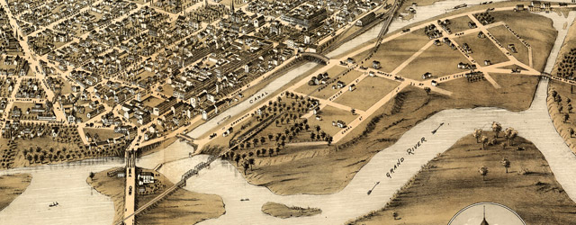 Bird's eye view of Brantford, province Ontario, Canada 1875 wide thumbnail image