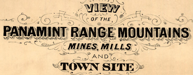 View of the Panamint Range Mountains, mines, mills and town site  wide thumbnail image
