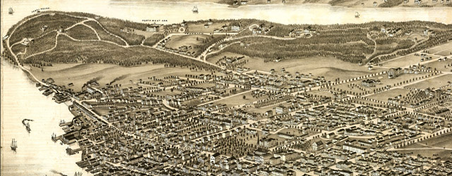 Panoramic view of the city of Halifax, Nova Scotia 1879.  wide thumbnail image