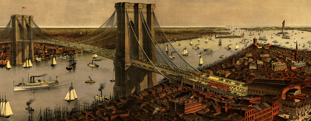 Grand birds eye view of the Great East River Suspension Bridge. Connecting the cities of New York & Brooklyn  wide thumbnail image