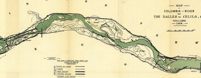 Map of Columbia River from The Dalles to Celilo, Or. (1880)  wide thumbnail image