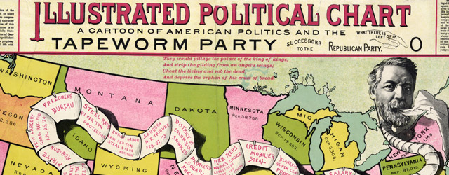 Illustrated political chart, a cartoon of American politics and the Tapeworm Party  wide thumbnail image