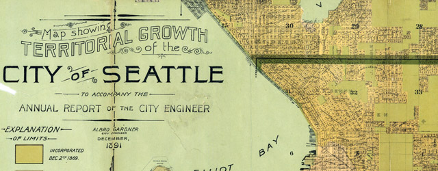 Map showing territorial growth of the city of Seattle (1891) wide thumbnail image