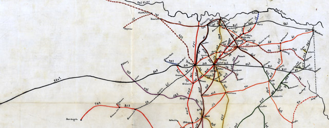 Bissell's railway junction point map of Texas  wide thumbnail image