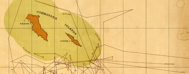 Chart showing the locality where seals were taken adjacent to the Commander Islands in 1892 by eight Canadian sealing vessels wide thumbnail image