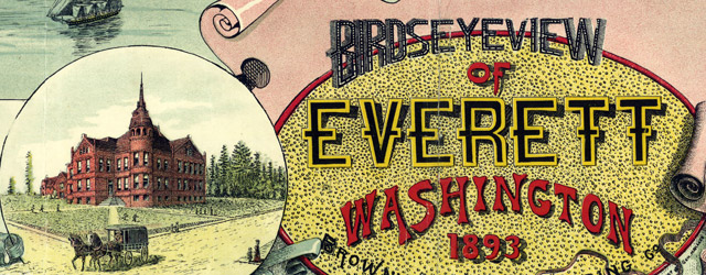 Birds eye view of Everett Washington (1893)  wide thumbnail image