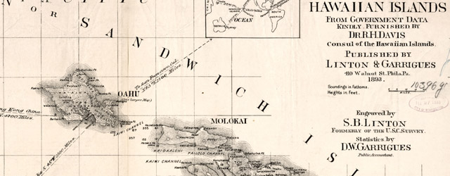 Topographical map of the Hawaiian Islands  wide thumbnail image