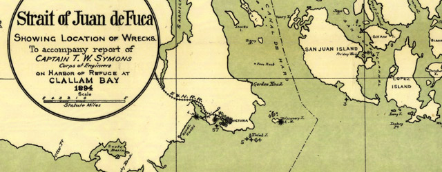Map of the Strait of Juan de Fuca showing location of wrecks (1895)  wide thumbnail image