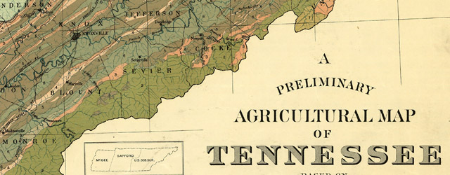 A preliminary agricultural map of Tennessee based on the distribution of geological formations wide thumbnail image