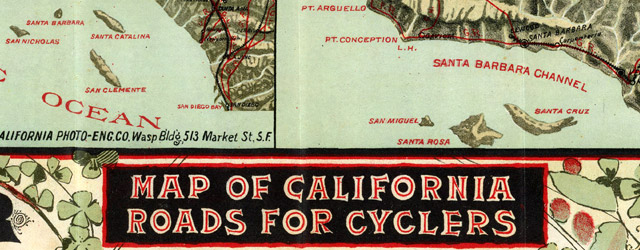 Map of California Roads for Cyclers wide thumbnail image