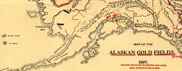 Map of the Alaskan gold fields wide thumbnail image