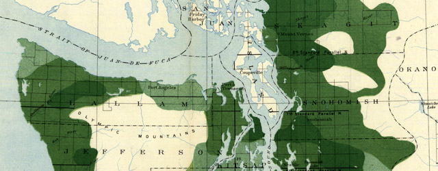 Map of western Washington, showing density of merchantable timber (1898) wide thumbnail image