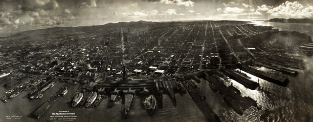 Photograph of San Francisco in ruins from Lawrence Captive Airship, 2000 feet above San Francisco Bay  wide thumbnail image