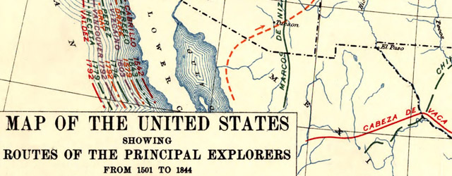 Map of the United States showing routes of principal explorers, from 1501 to 1844 wide thumbnail image