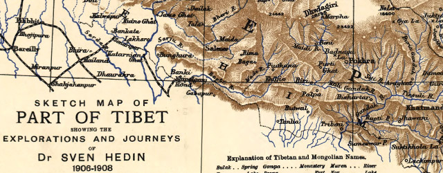 Sketch map of part of Tibet showing the explorations and journeys of Dr. Sven Hedin wide thumbnail image