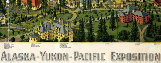 Authorized birds eye view of the Alaska-Yukon-Pacific Exposition (1909)  wide thumbnail image