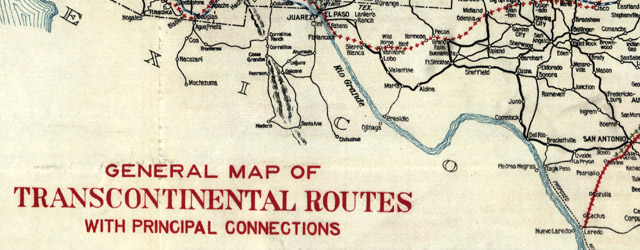 General map of transcontinental routes with principal connections wide thumbnail image