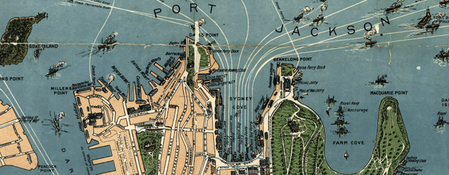 Robinson's aeroplane map of Sydney wide thumbnail image