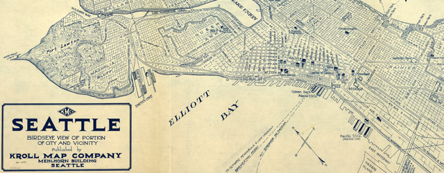 Seattle birdseye view of portion of city and vicinity wide thumbnail image