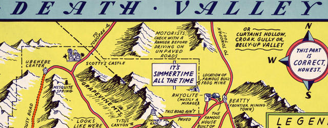 A hysterical map of Death Valley National Monument : and it's lookin' mighty low wide thumbnail image