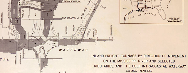 Inland freight tonnage by direction of movement on the Mississippi River and selected tributaries and the Gulf Intracoastal Waterway  wide thumbnail image