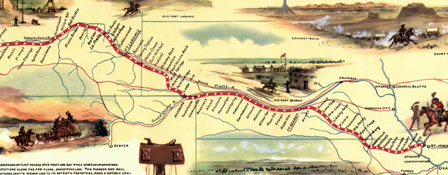 Pony express route April 3, 1860 - October 24, 1861  wide thumbnail image