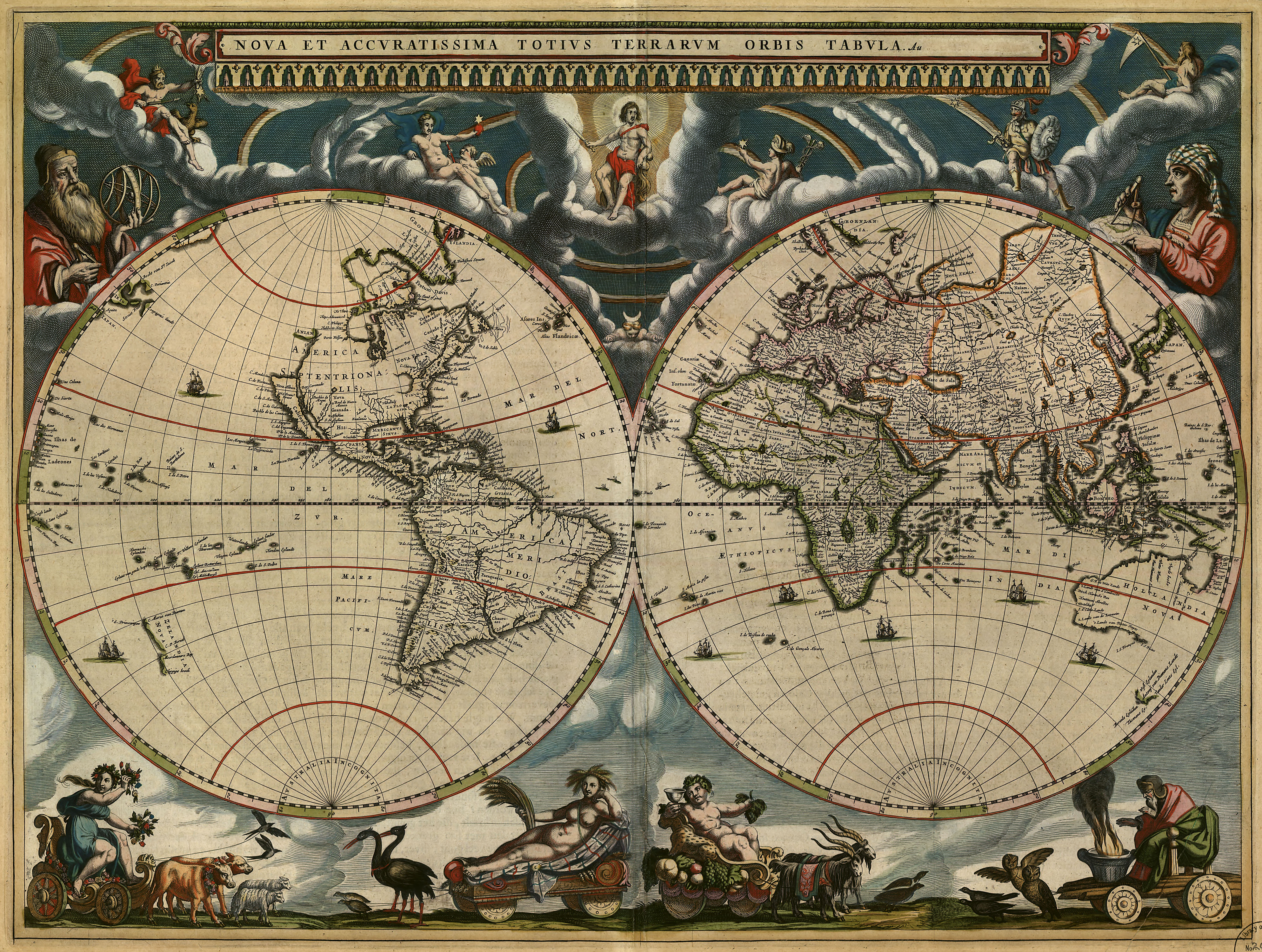 Blaeu's map of the World (1684) [6499 × 4905] : MapPorn