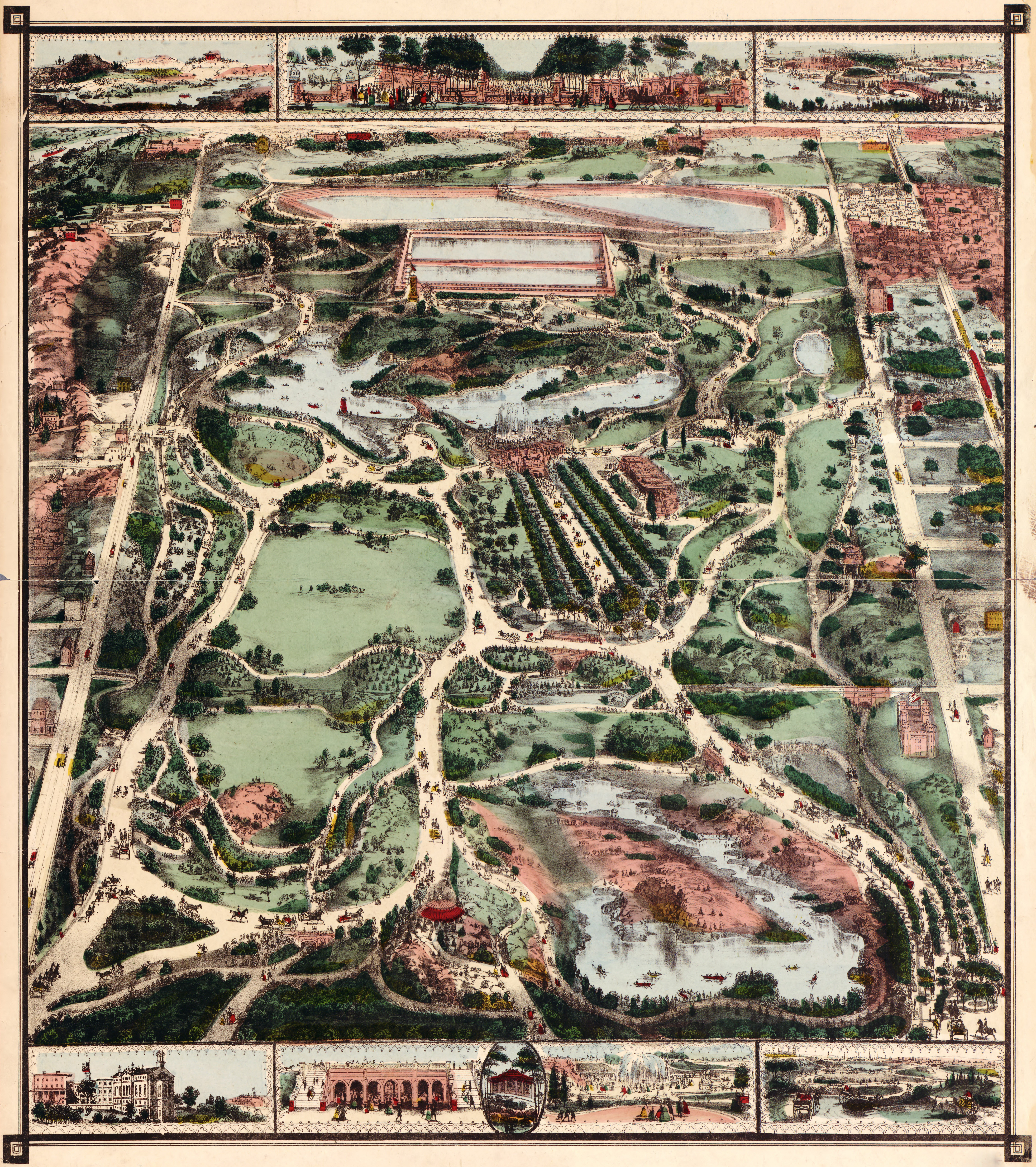 Vintage Infographic Map of New York City's Central Park (1860)