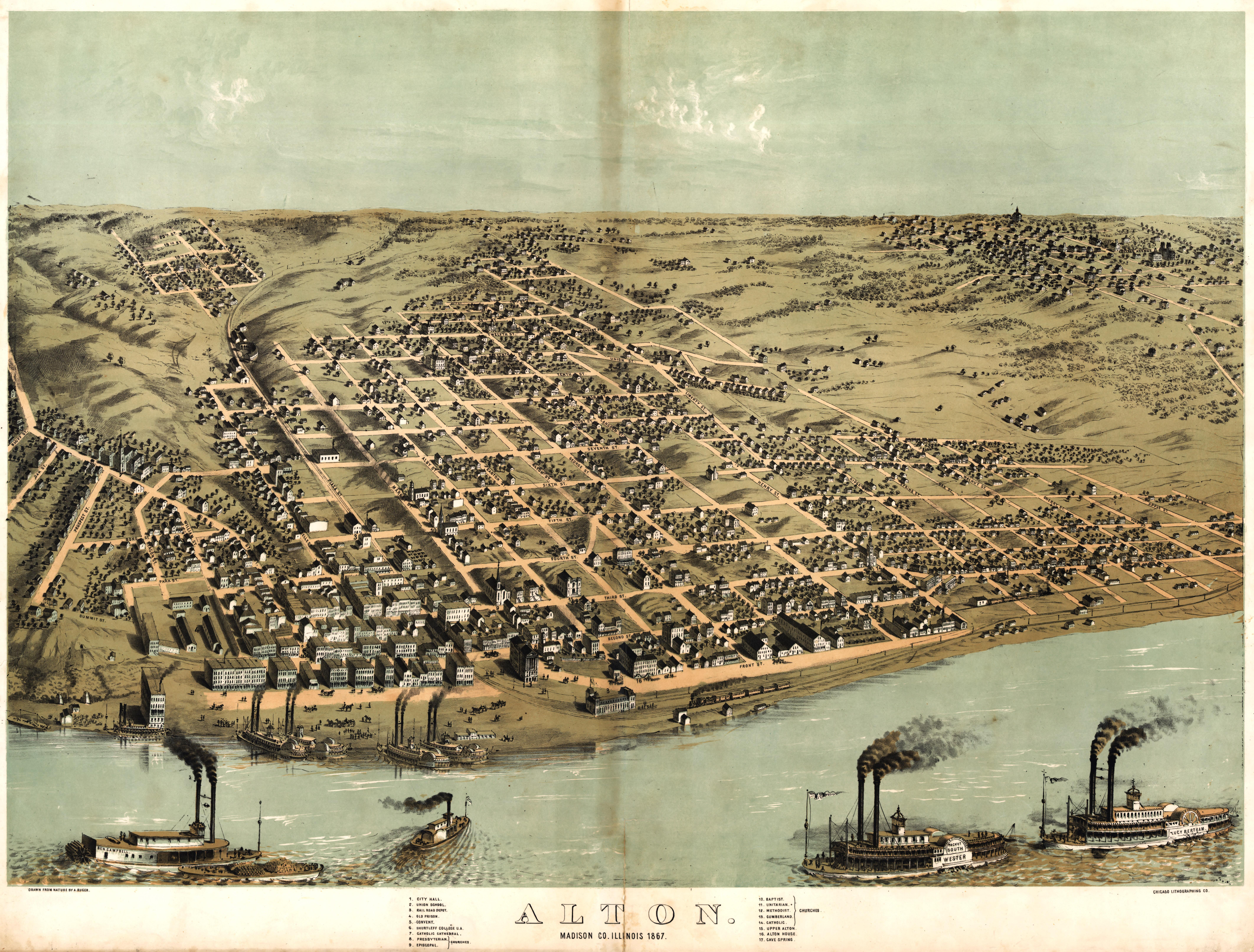 Alton Kansas Map.Ruger S Map Of Alton Illinois 1867