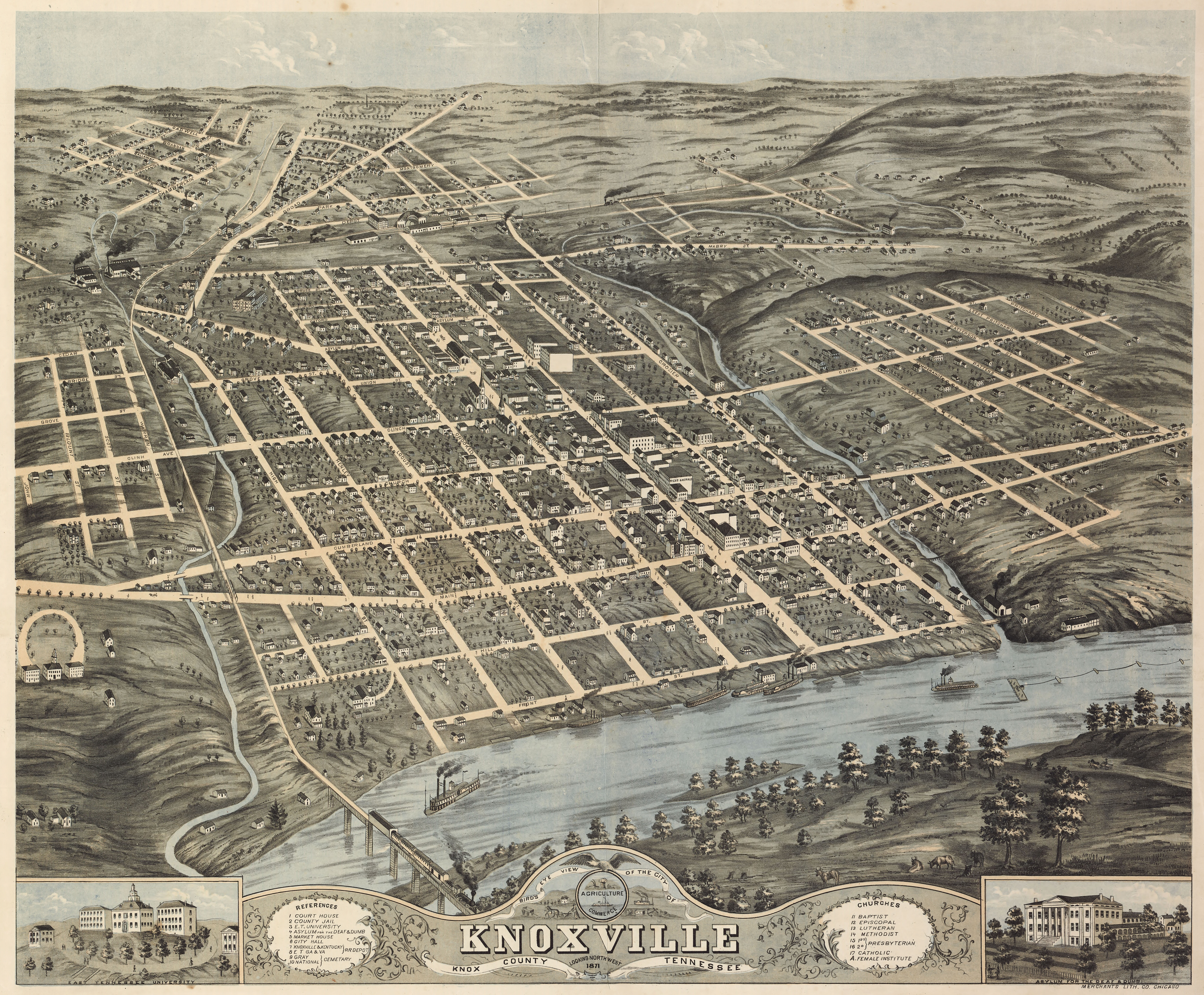 Rugers map of knoxville tennessee 1871 dwnld full size sciox Gallery