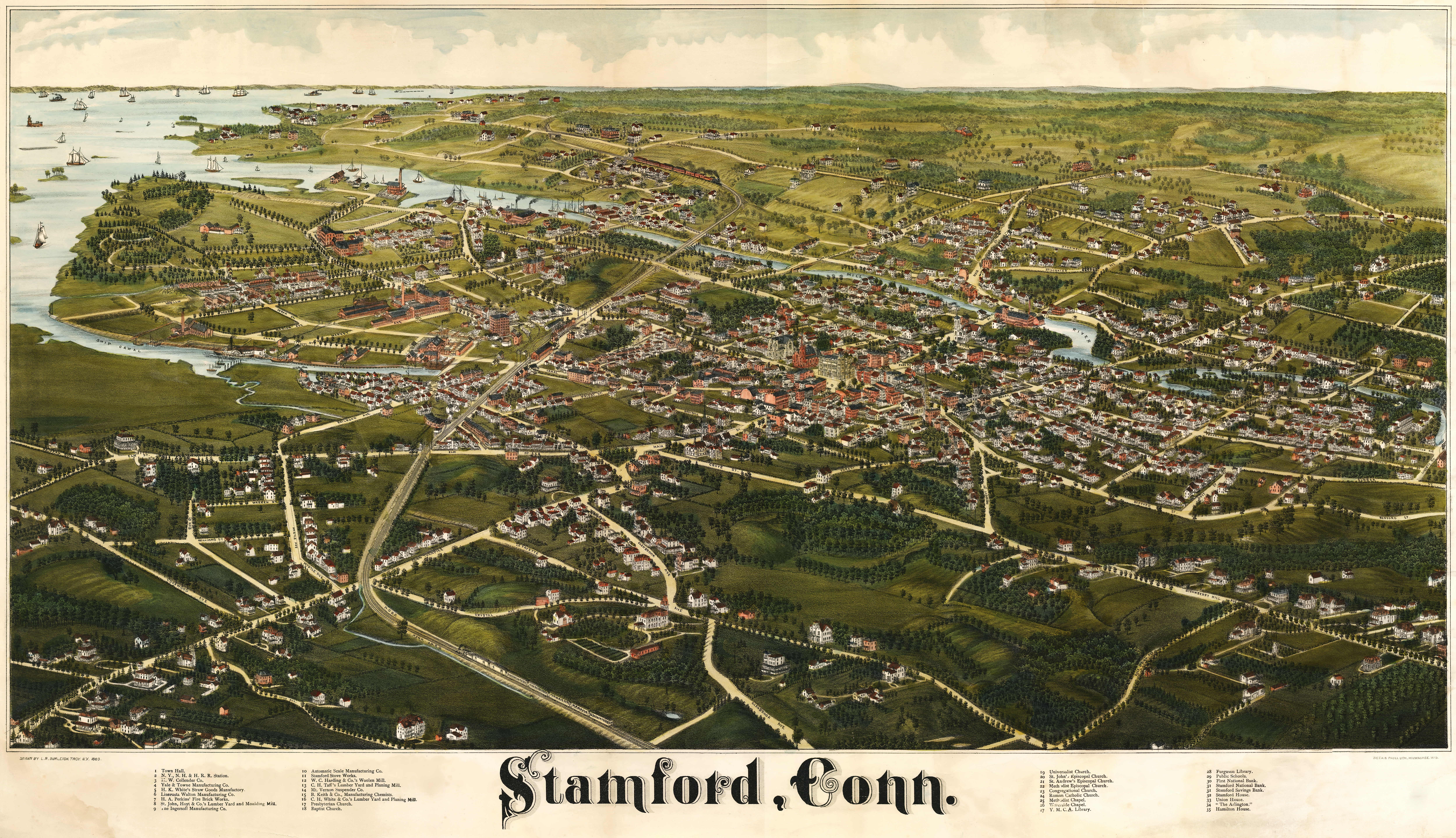 dwnld full size . burleigh's map of stamford connecticut ()