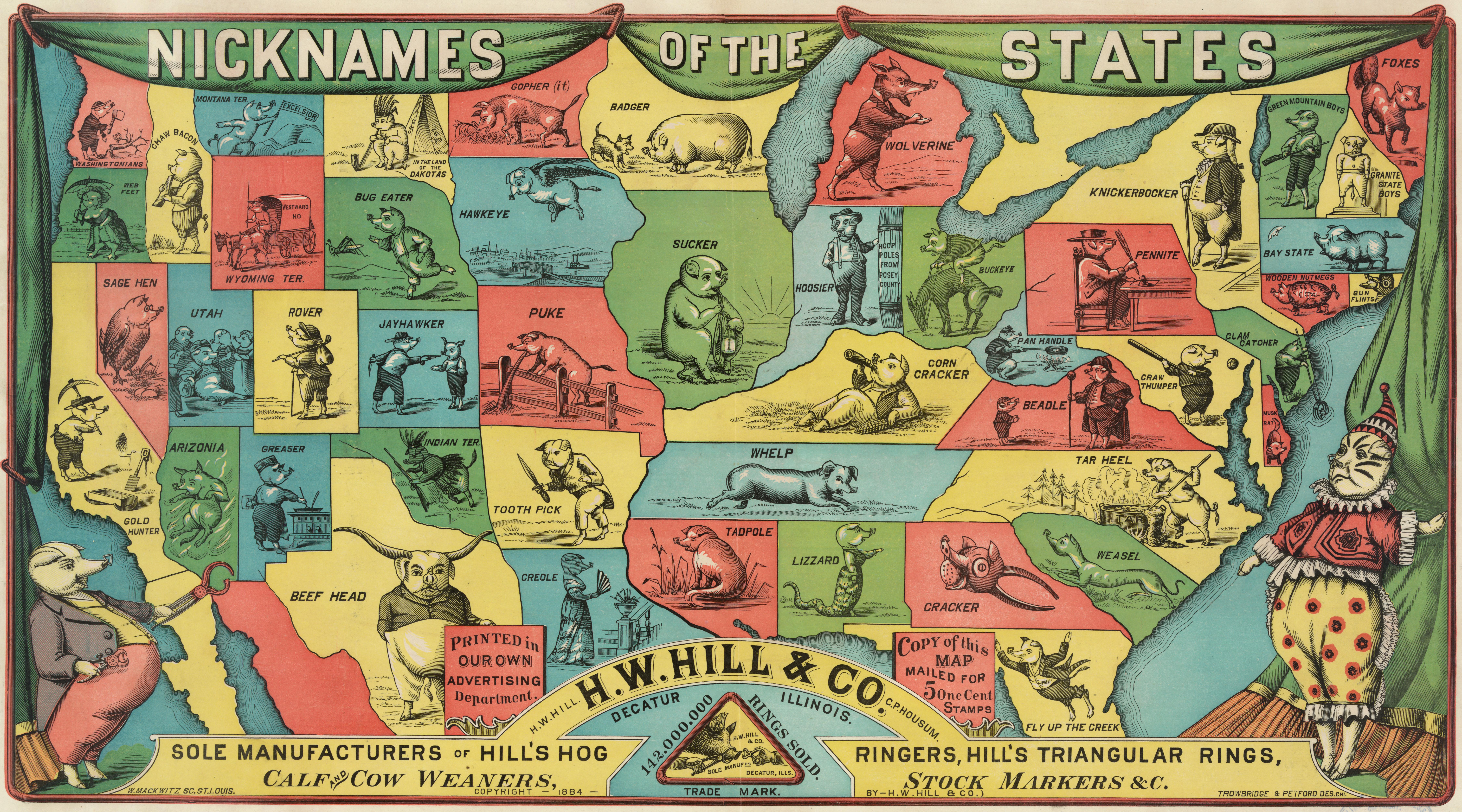 US States Given Porcine Nicknames - Us map 1884