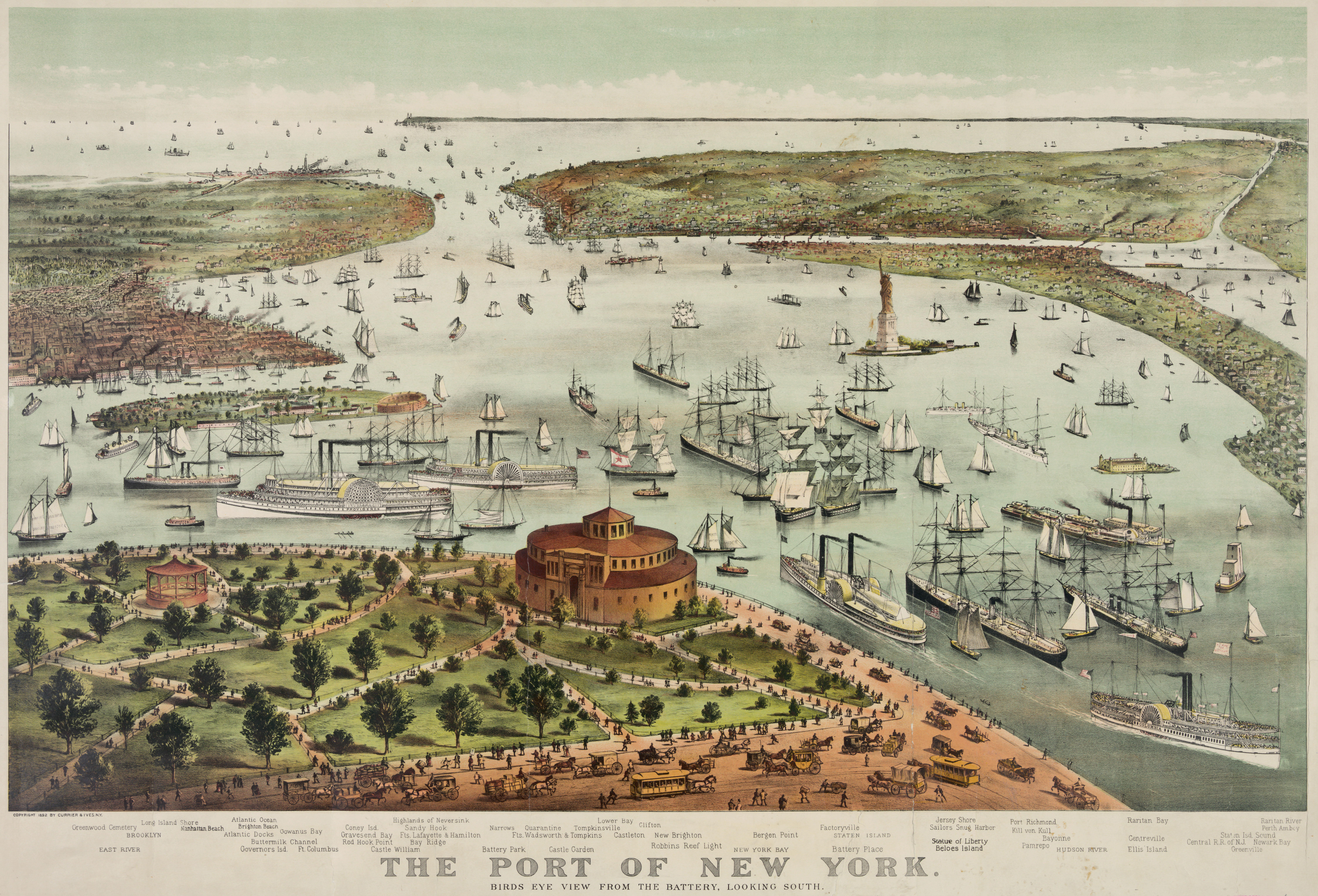 Map Of New York Harbour.New York City S Harbor 1892