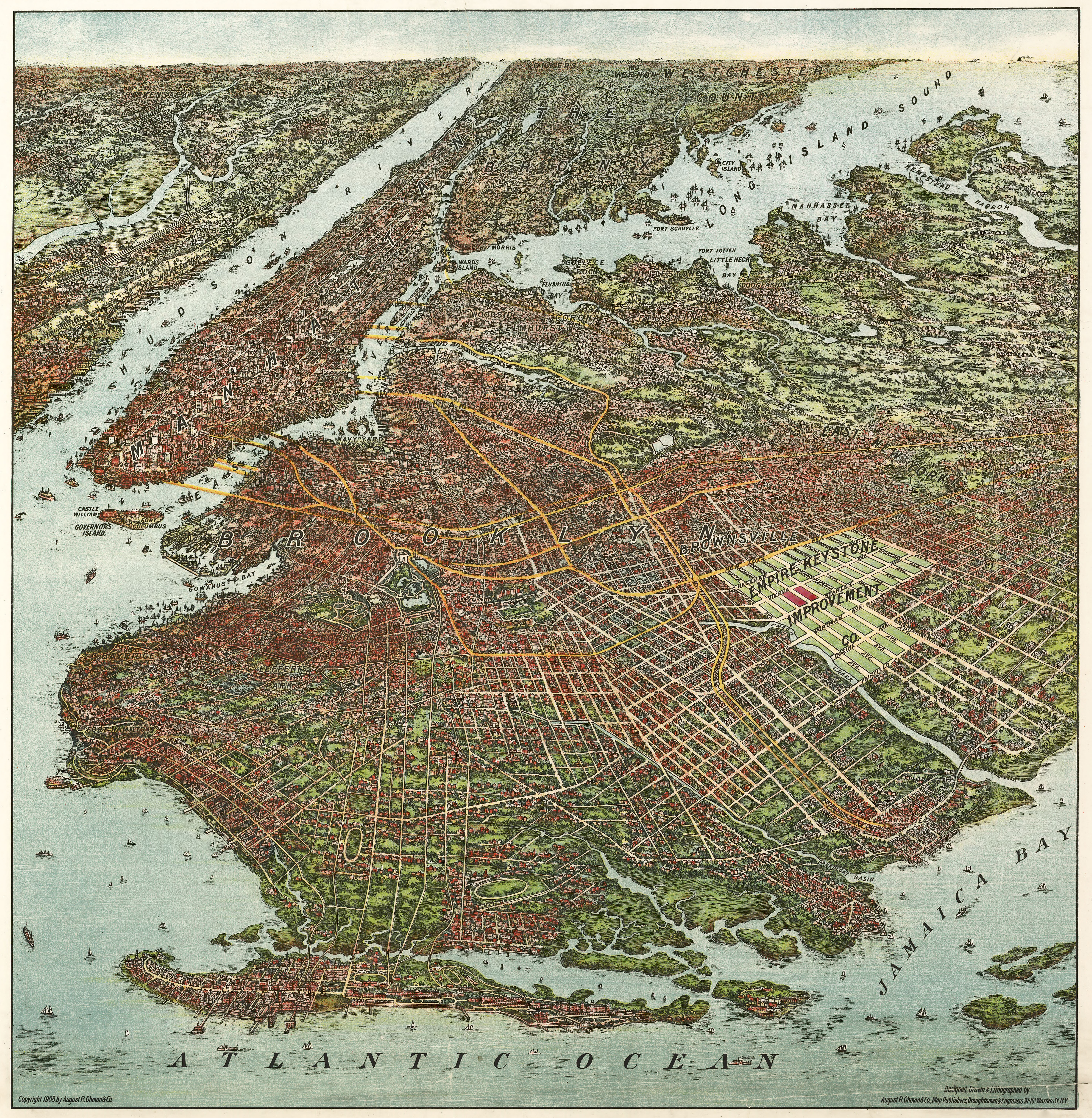 Ohmans map of Brooklyn 1908