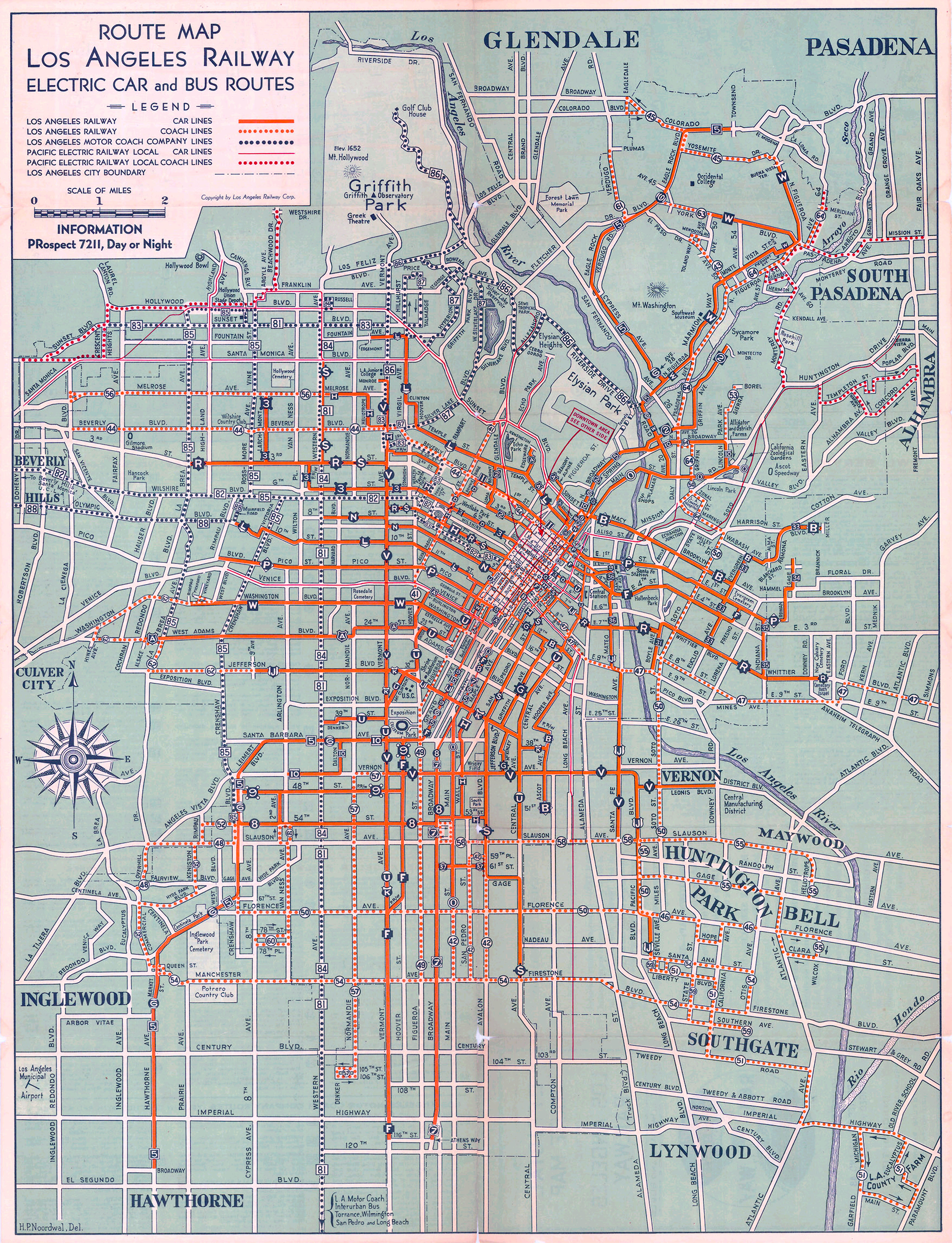 Electric Car And Bus Routes In LA - 1934 us highways map midwest
