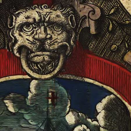 Hondius' map of the World (1595) image detail
