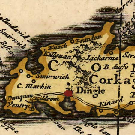 De Wit's map of Ireland (1700) image detail