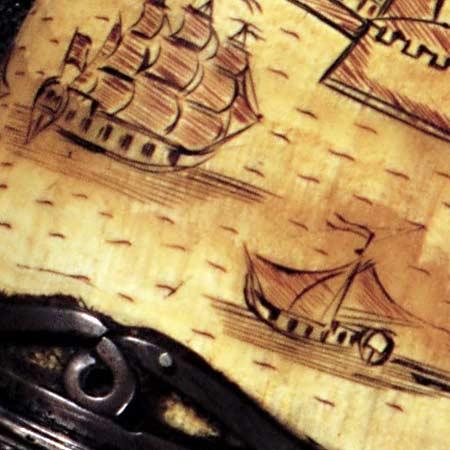 Hudson Valley powderhorn map (1758) image detail
