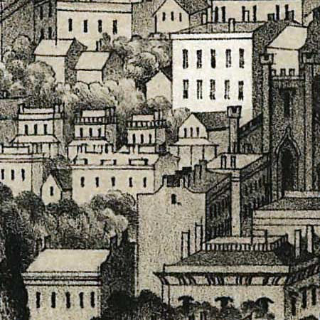 Moody's birdseye map of Milwaukee (1854) image detail
