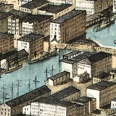 Ruger's birdseye map of Chicago (1868) image detail