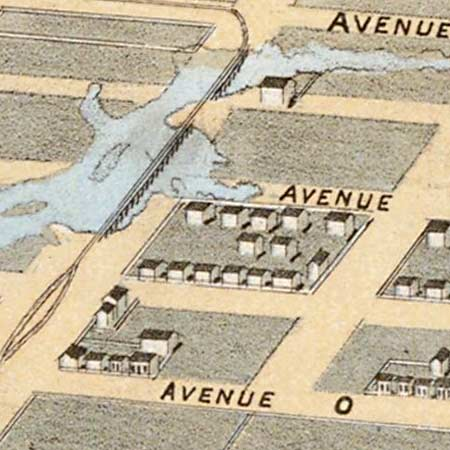 Drie's map of Galveston, Texas (1871) image detail