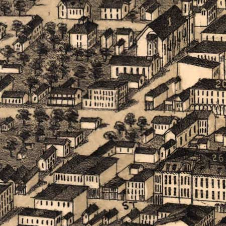 Birdseye map of Terre Haute (1880) image detail