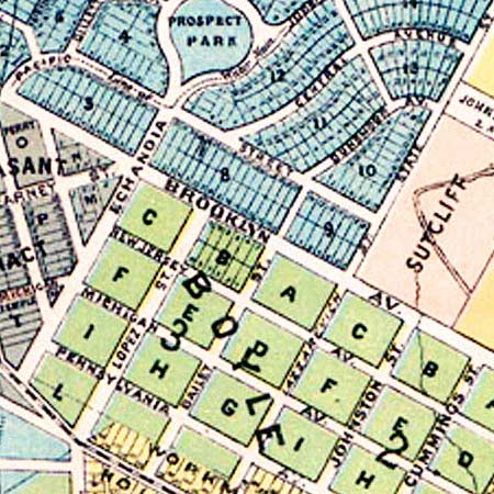 Stevenson's survey of Los Angeles (1884) image detail