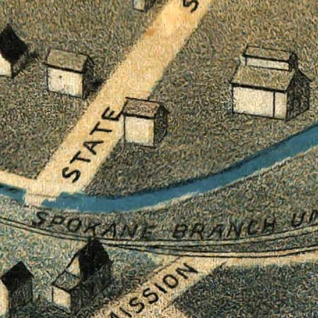 Birdseye map of Pendleton, Oregon (1890) image detail