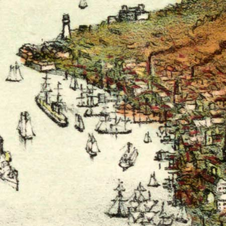 New York City's harbor (1892) image detail