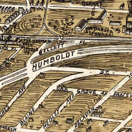 Birdseye map of Buffalo, New York (1900) image detail