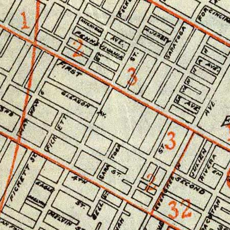 Security map of Los Angeles (1908) image detail